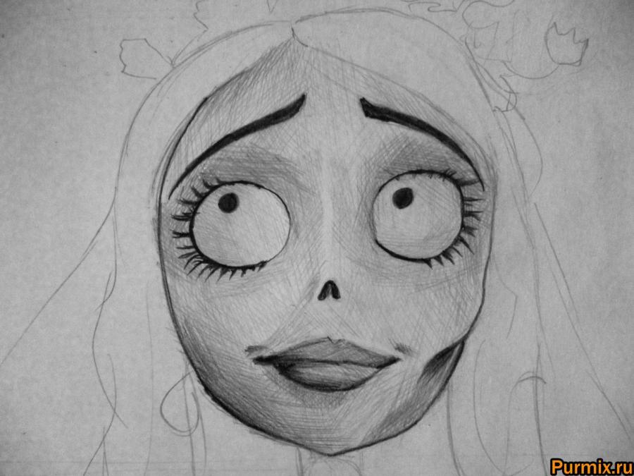 Как нарисовать Эмили из Труп невесты карандашами поэтапно - шаг 5