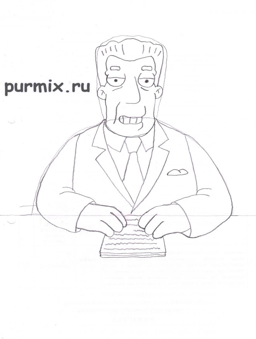 Рисуем Кента Брокмана из Симпсонов
