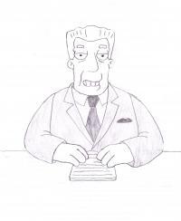 Кента Брокмана из Симпсонов карандашом