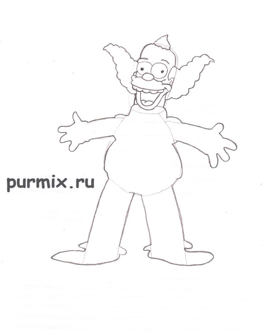 Рисуем Клоуна Красти из Симпсонов