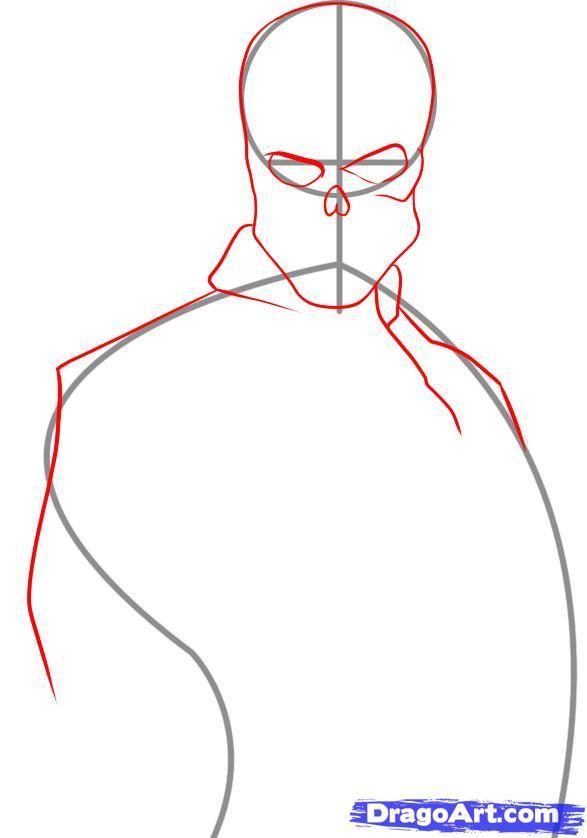 Рисуем Красного Черепа из Капитан Америка