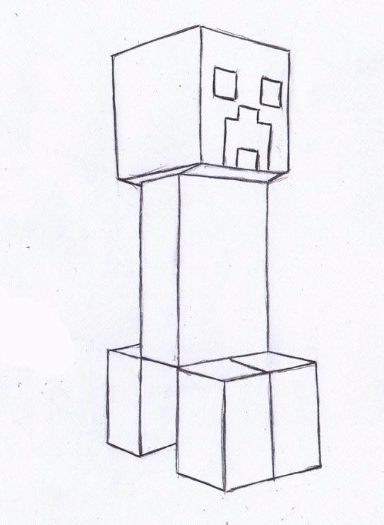 Рисуем Крипера из игры Майнкрафт - шаг 3