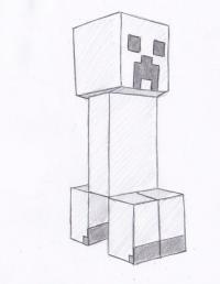 Крипера из Майнкрафта карандашом