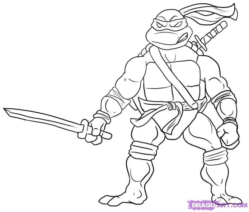 Как нарисовать Леонардо из Черепашек-Ниндзя карандашом поэтапно