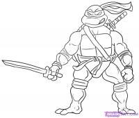 Леонардо из Черепашек-Ниндзя карандашом