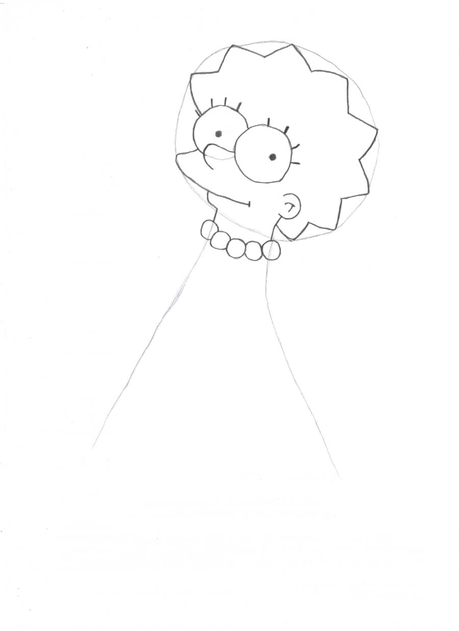 Рисуем Лизу Симпсон - шаг 2