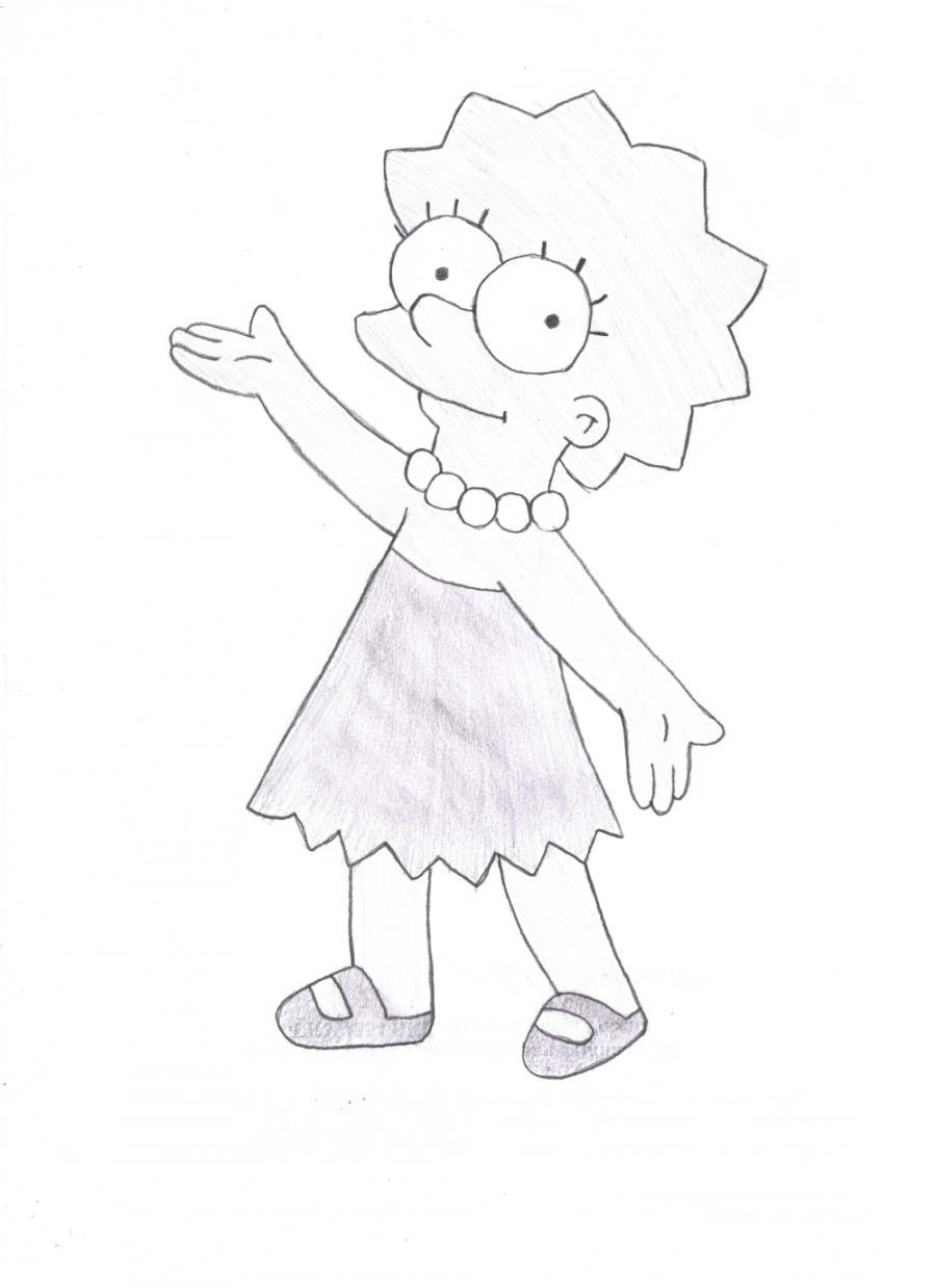 Как нарисовать Лизу Симпсон карандашом поэтапно