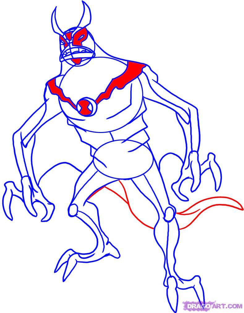 Как нарисовать Лучистого из Бен 10 на бумаге карандашом