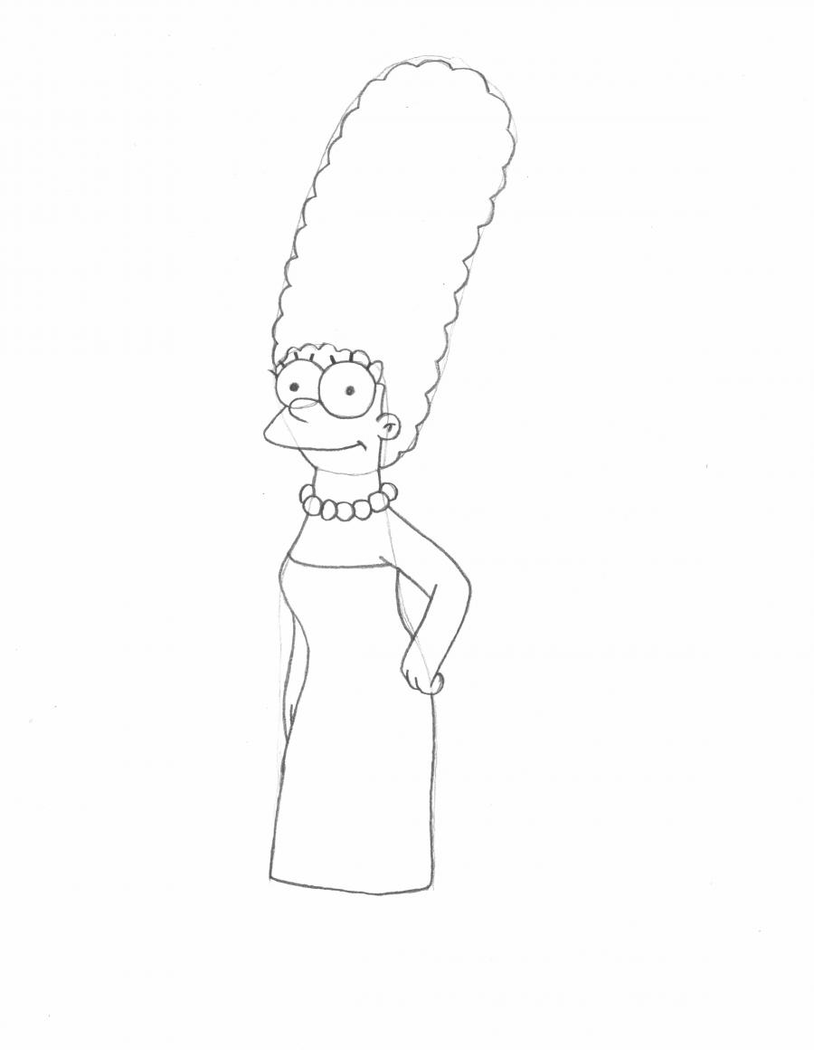 How to Draw Marge Simpson in Pencil Step by Step.