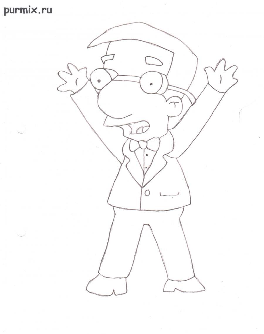 Рисуем Милхауса Ван Хутена из мультсериала Симпсоны