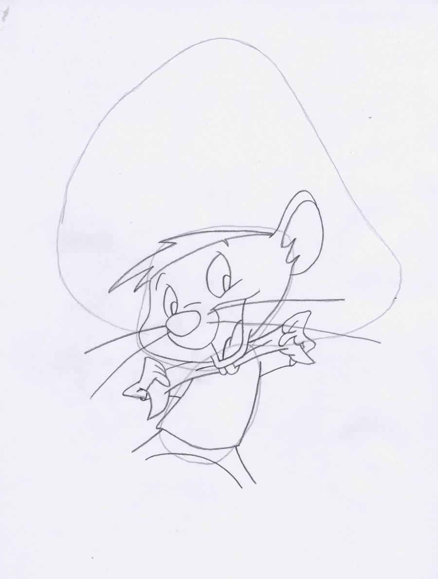 Рисуем мышь Спиди Гонзалес из Веселые мелодии