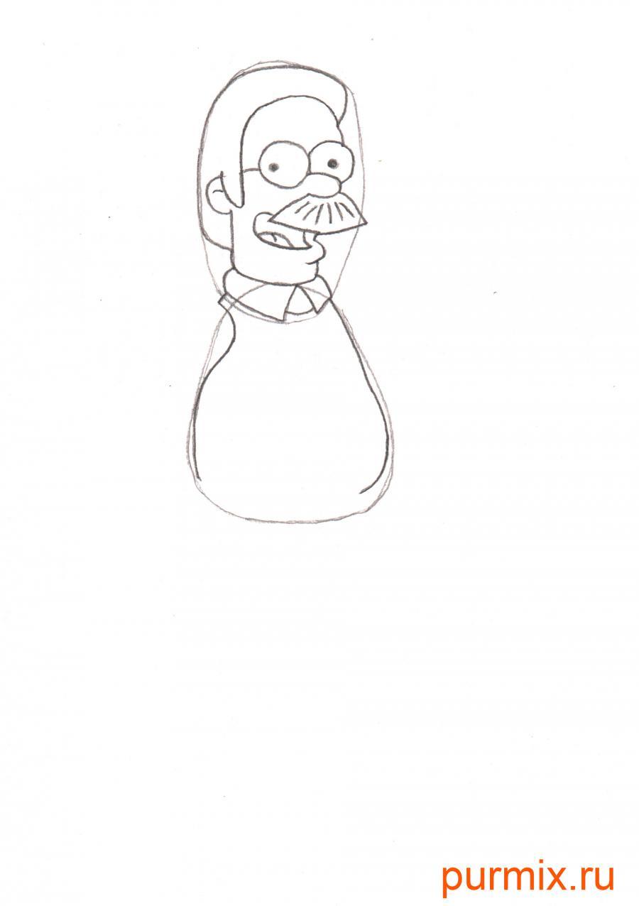 Рисуем Неда Фландерса из Симпсонов