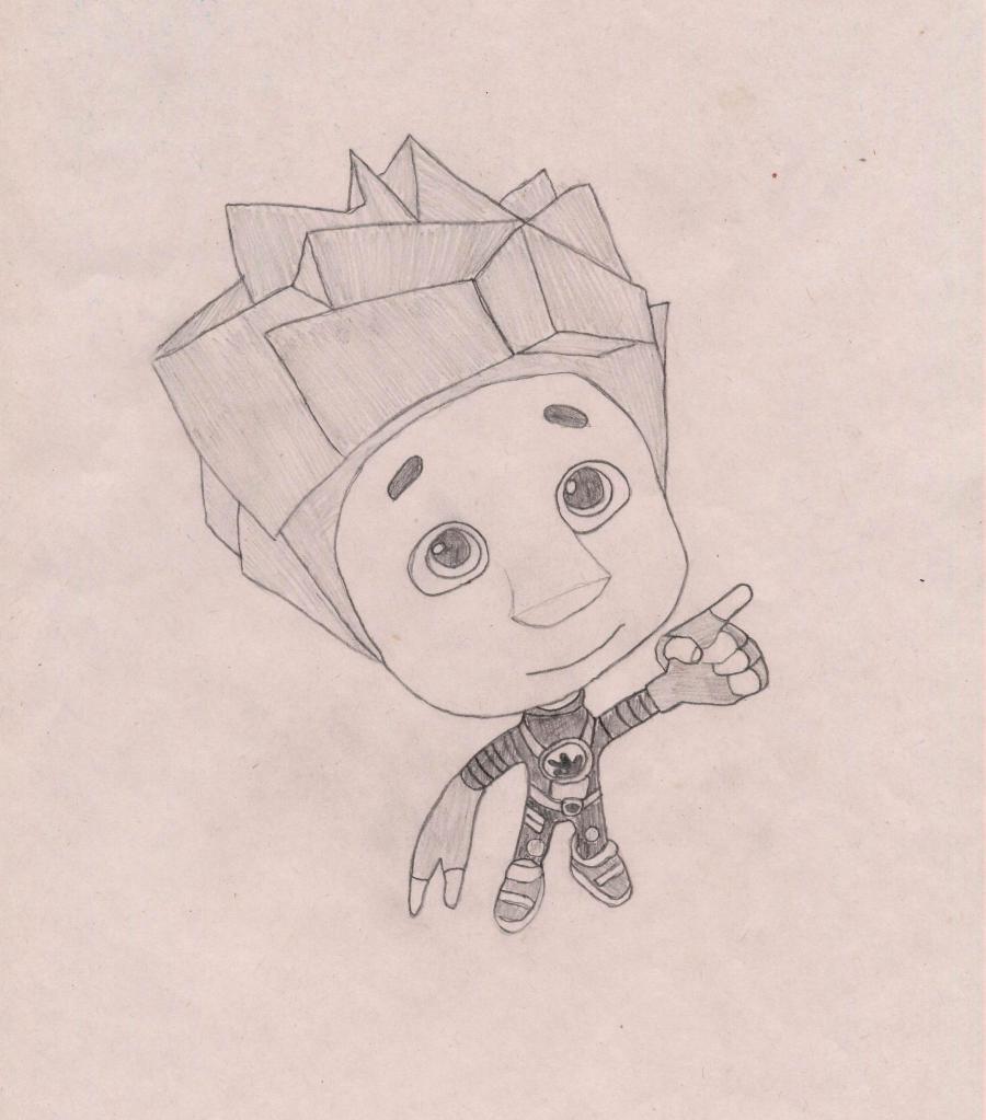 Как нарисовать Нолика из Фиксиков карандашом поэтапно