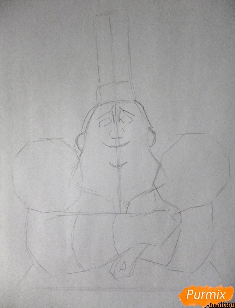 Рисуем Огюста Гюсто из мультфильма Рататуй - шаг 1