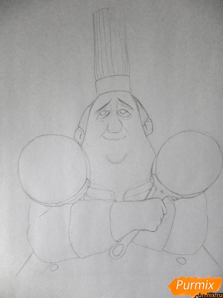 Рисуем Огюста Гюсто из мультфильма Рататуй - шаг 3