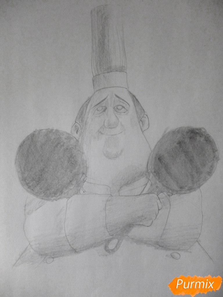Рисуем Огюста Гюсто из мультфильма Рататуй - шаг 4