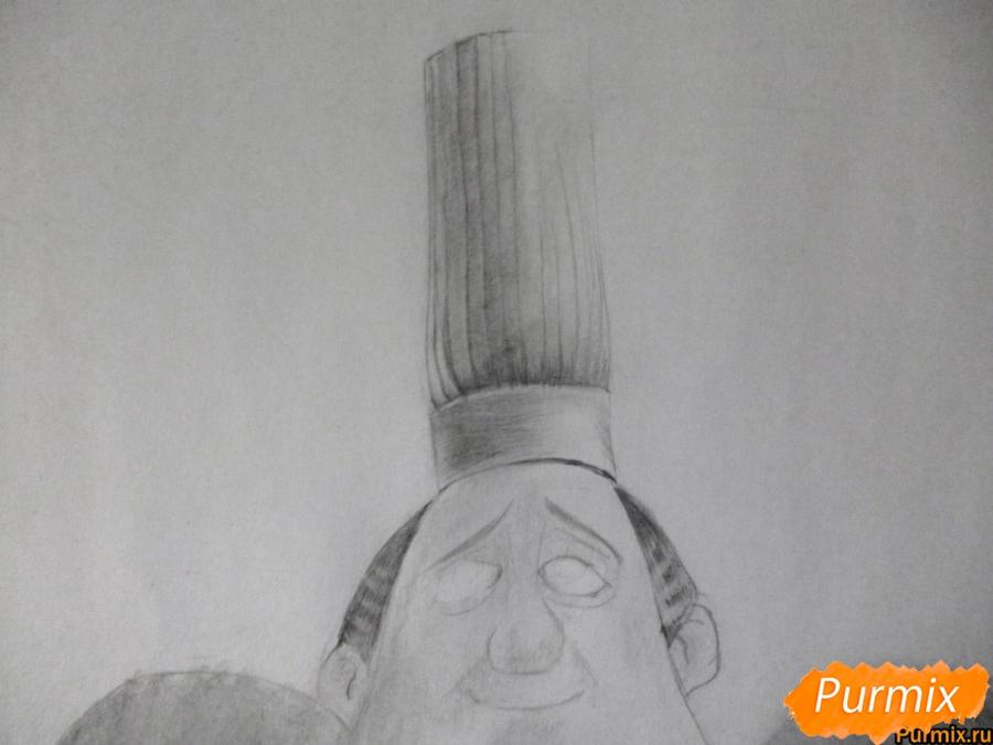 Рисуем Огюста Гюсто из мультфильма Рататуй - шаг 6