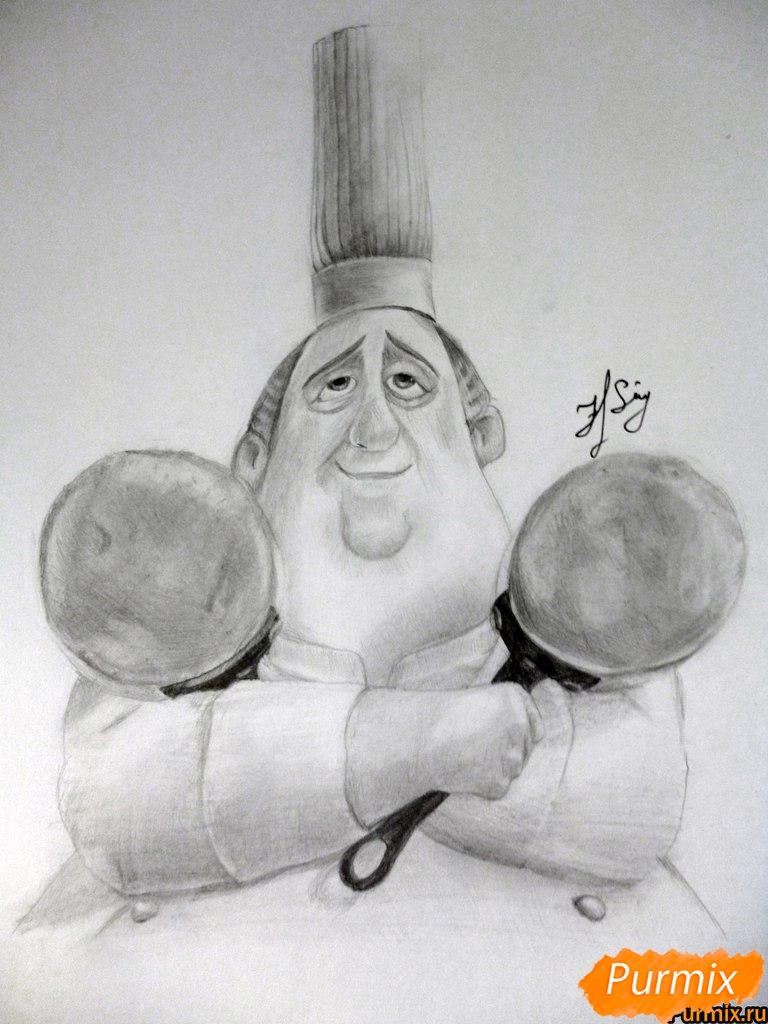 Как нарисовать Огюста Гюсто из мультфильма Рататуй карандашом поэтапно