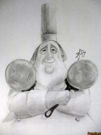 Как нарисовать Огюста Гюсто из Рататуй карандашом