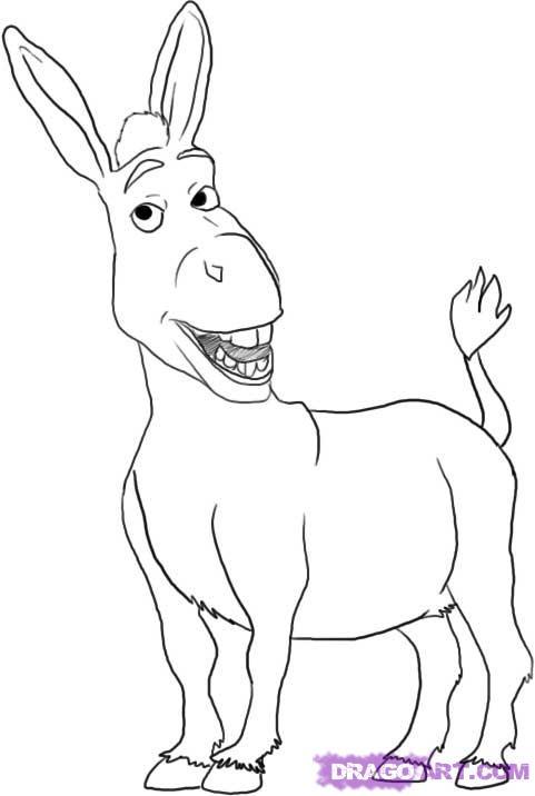 Как нарисовать Осла из мульт-ма Шрек карандашом поэтапно
