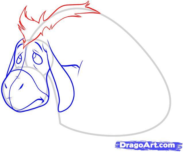 Как нарисовать ослика иа-иа карандашом поэтапно