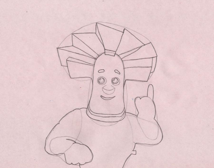 Как нарисовать Папуса из Фиксиков карандашом поэтапно