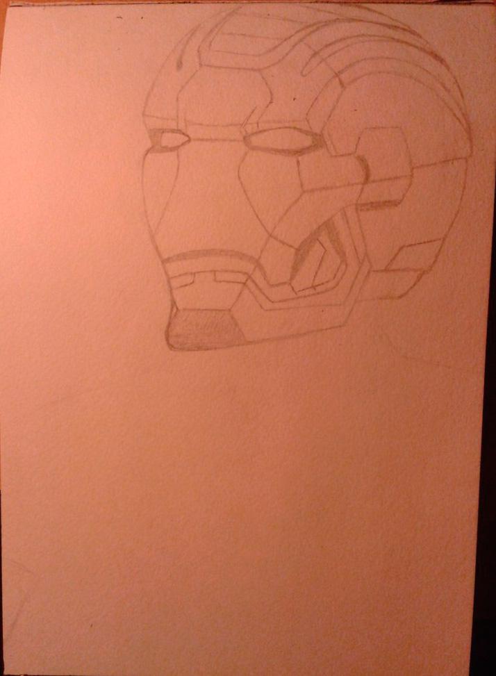Рисуем лицо железного человека - шаг 2