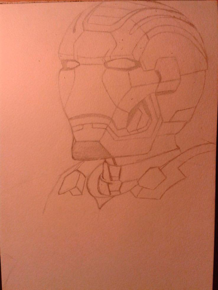 Рисуем лицо железного человека - шаг 3
