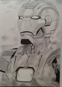 Фото портрет Железного Человека простым карандашом