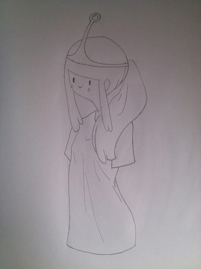 Как нарисовать принцесса Бубльгум из Время приключений - шаг 4