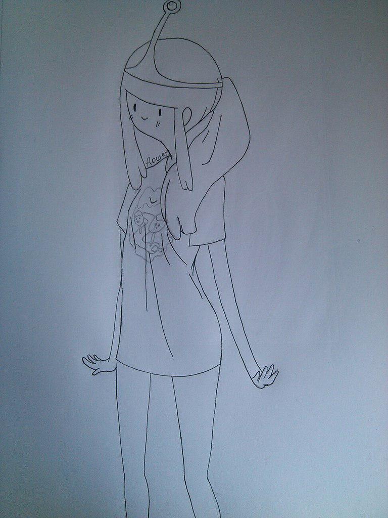 Как нарисовать принцесса Бубльгум из Время приключений - шаг 6