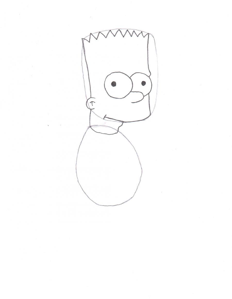Рисуем Барта Симпсона со скейтом - шаг 2