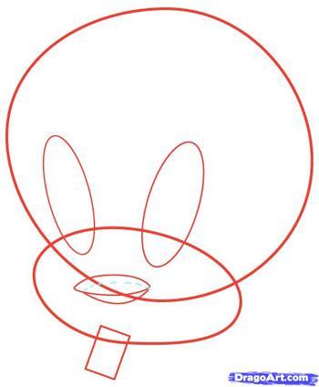 Как нарисовать птичку Твитти карандашом поэтапно