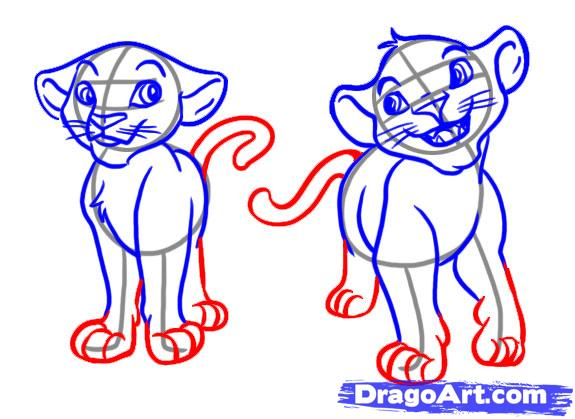 Рисуем Симбу и Налу из Король Лев - шаг 5
