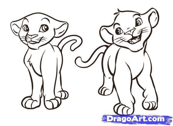 Рисуем Симбу и Налу из Король Лев - шаг 6