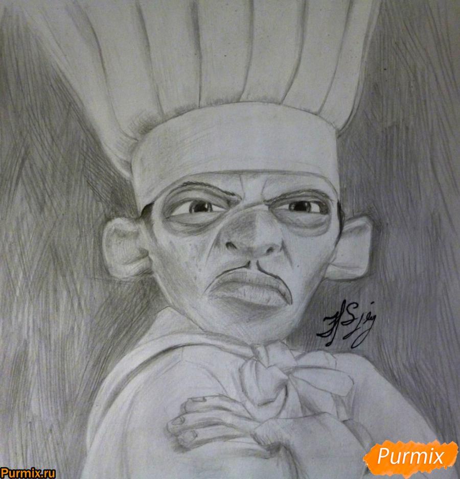 Как нарисовать Скиннера из мультфильма Рататуй карандашом поэтапно