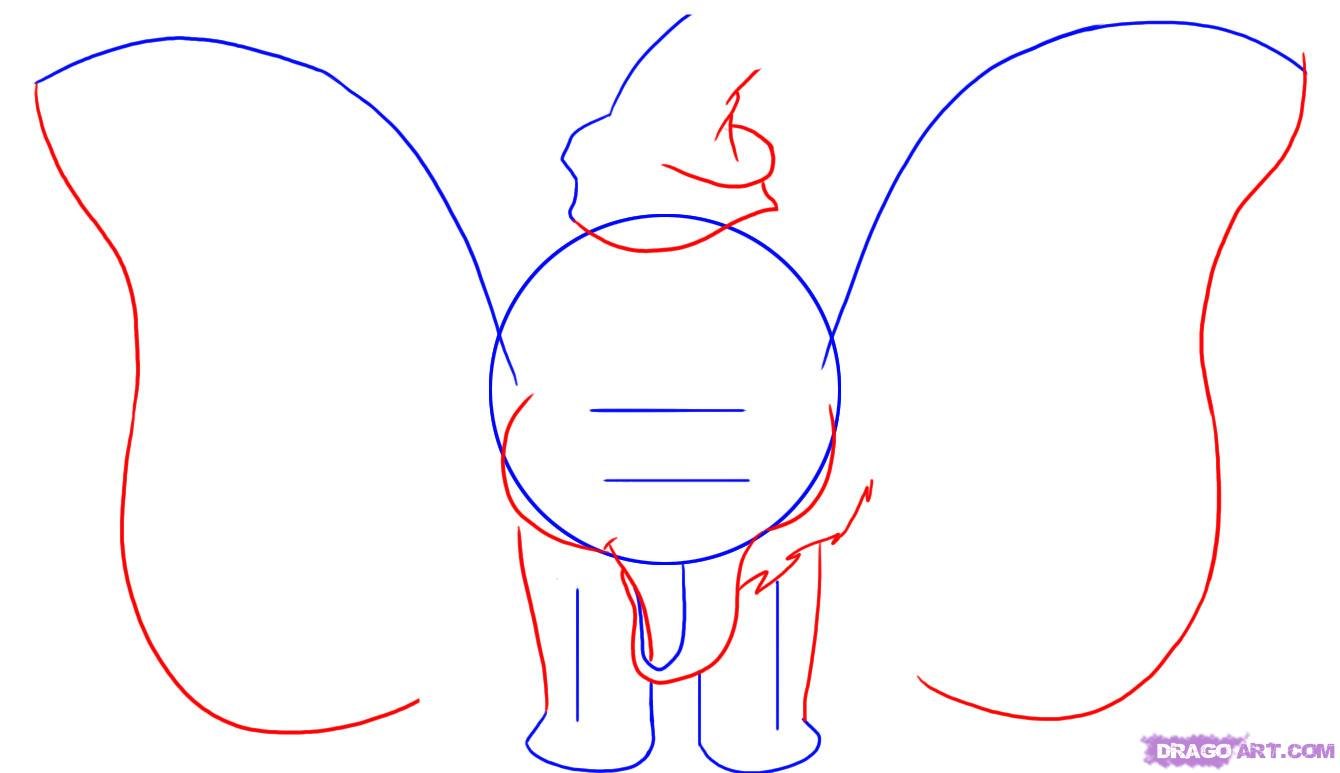Рисуем слоненка Дамбо - шаг 2