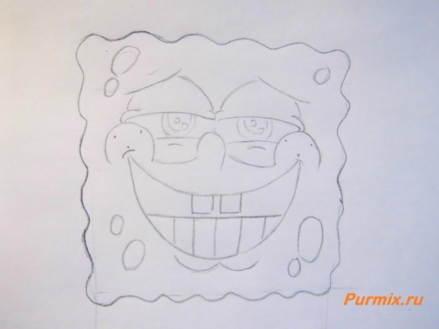 Как нарисовать Спанч Боба простым карандашом поэтапно