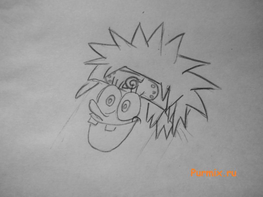 Рисуем Спанч Боба в стиле Наруто простым - шаг 2