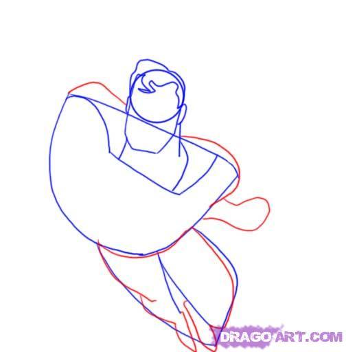 Учимся рисовать Супермена - шаг 4