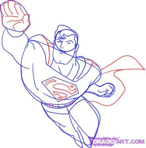 Учимся рисовать Супермена - шаг 9