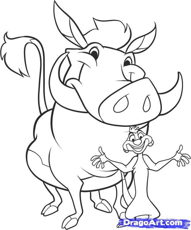 Как нарисовать Тимона и Пумбу карандашом поэтапно