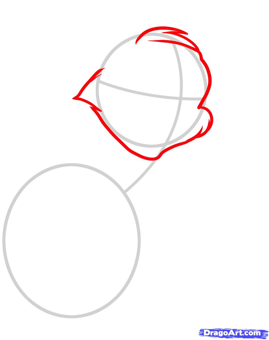 Рисуем Тома из Тома и Джерри - шаг 2