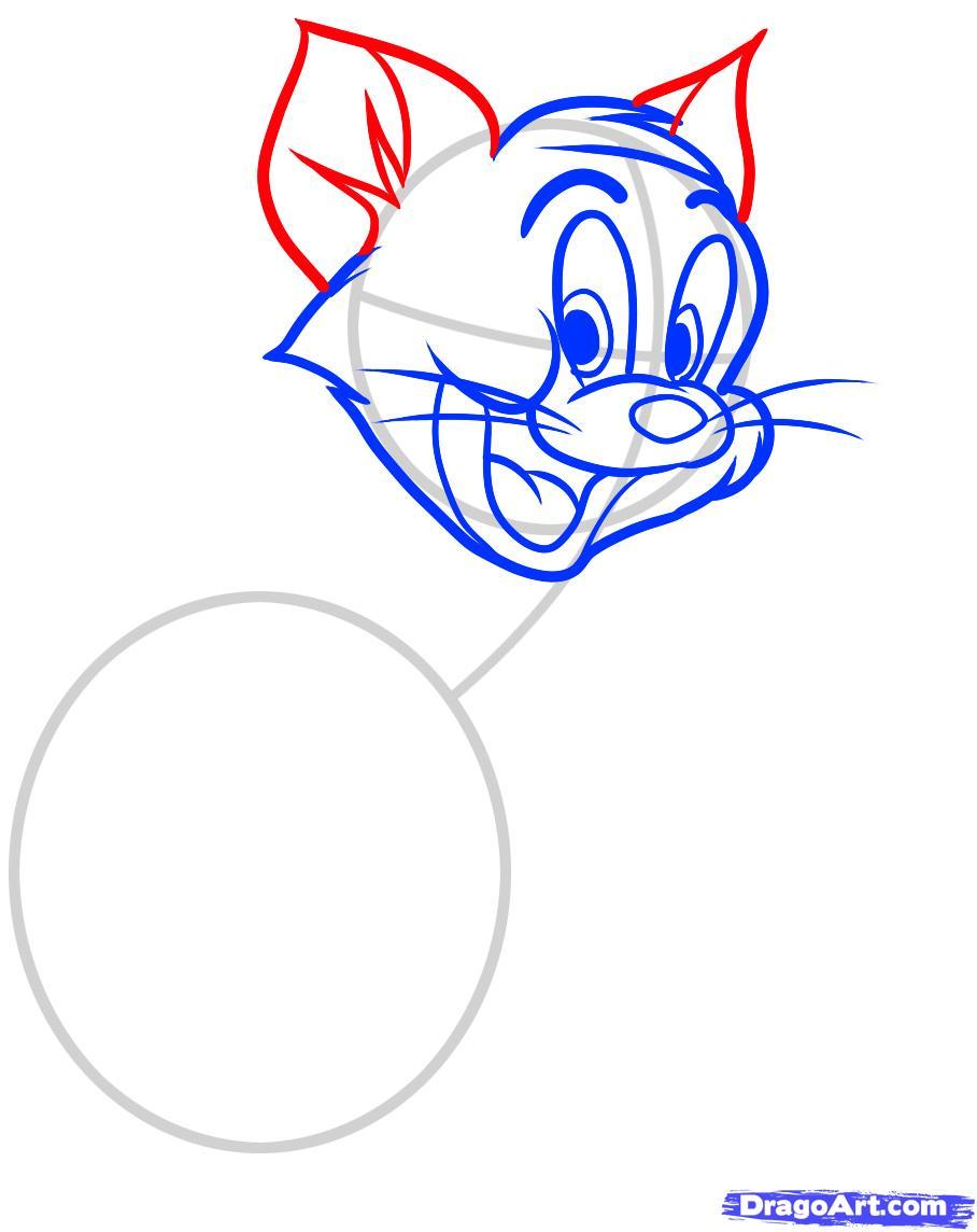 Рисуем Тома из Тома и Джерри - шаг 5