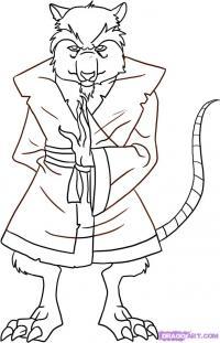 учителя Сплинтера из Черепашек-Ниндзя карандашом