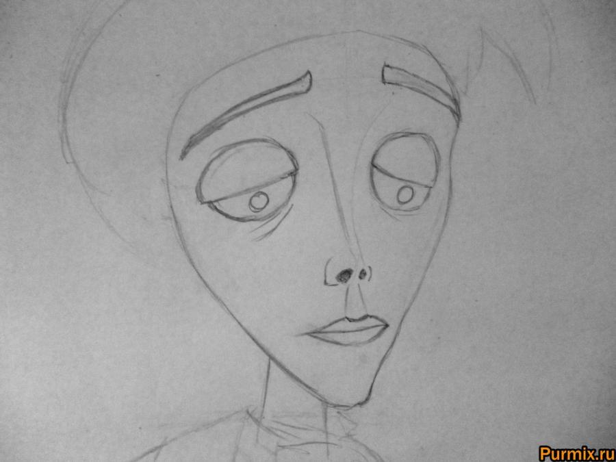 Как нарисовать Виктора Ван Дорта из Труп невесты карандашом - шаг 2