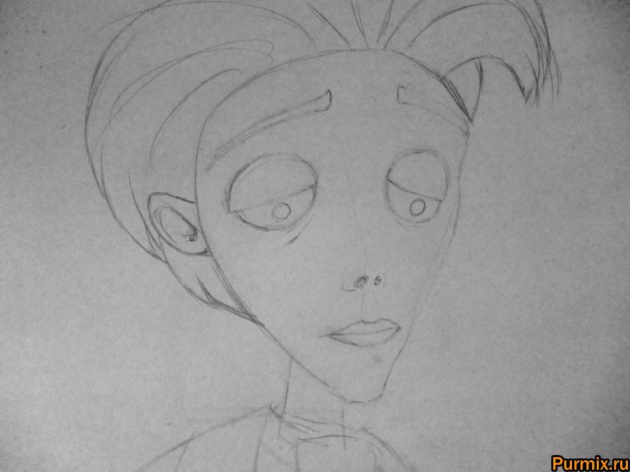 Как нарисовать Виктора Ван Дорта из Труп невесты карандашом - шаг 3