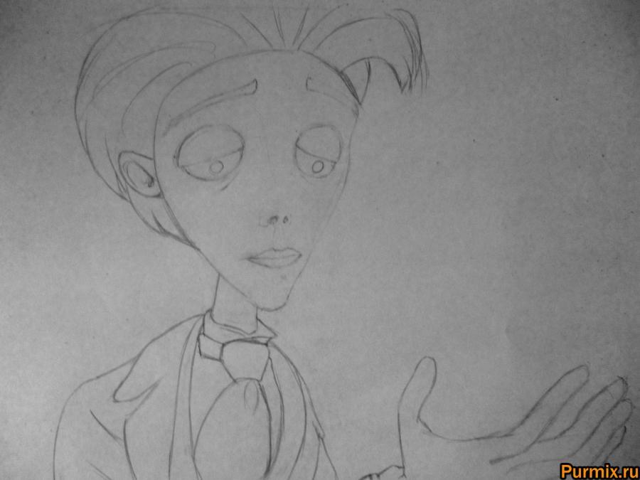 Как нарисовать Виктора Ван Дорта из Труп невесты карандашом - шаг 4