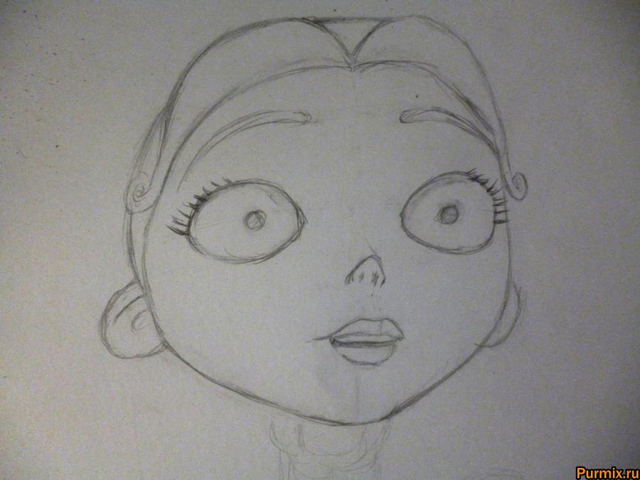 Как нарисовать Викторию Эверглот из Труп невесты поэтапно - шаг 3