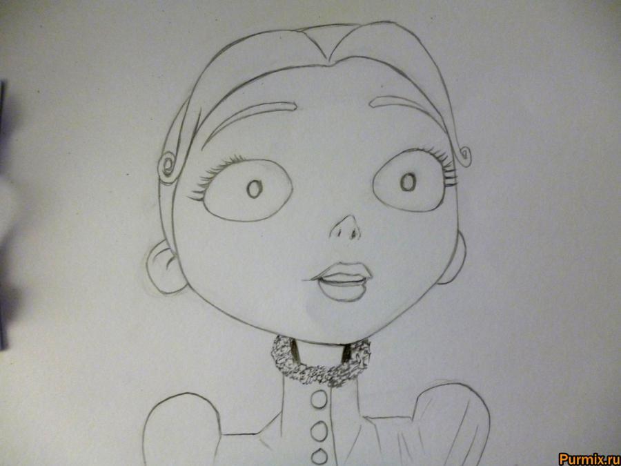 Как нарисовать Викторию Эверглот из Труп невесты поэтапно - шаг 4